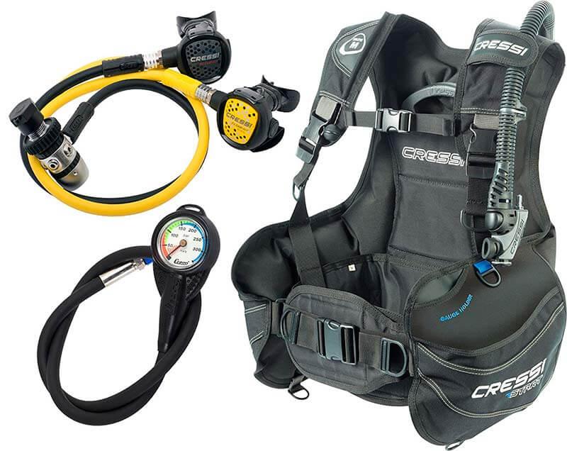 Pack de equipo de buceo de gama media.