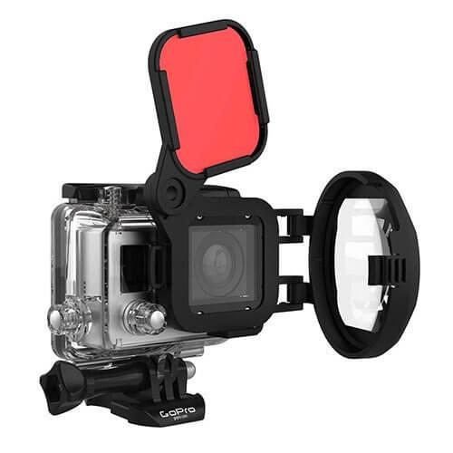 filtro de color rojo para vídeo y fotografía submarina de GoPro, con sistema de lente macro.