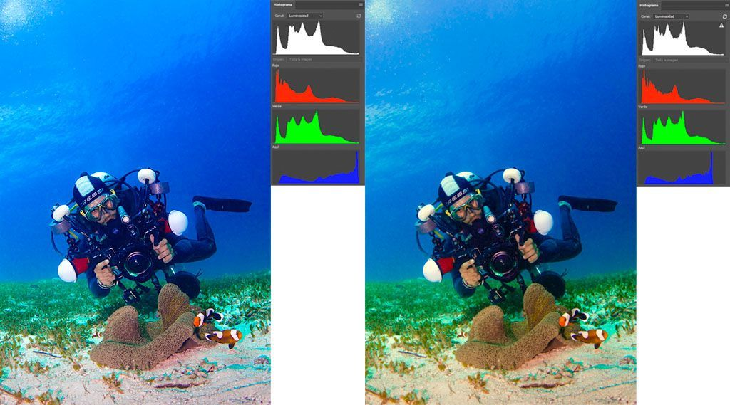 como leer el histograma rgb de las fotografías submarinas