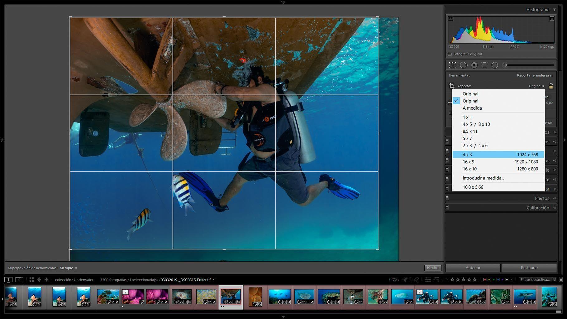 edicion de fotografias submarinas - recortar