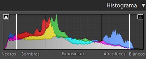 escala de luminosidad del histograma foto submarina