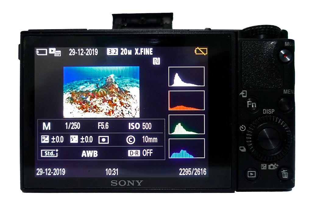 revisar el histograma en la camara foto submarina